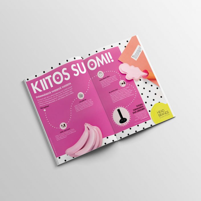 Ad for HeadBrands in the Finnish magazine Pinni -2017.