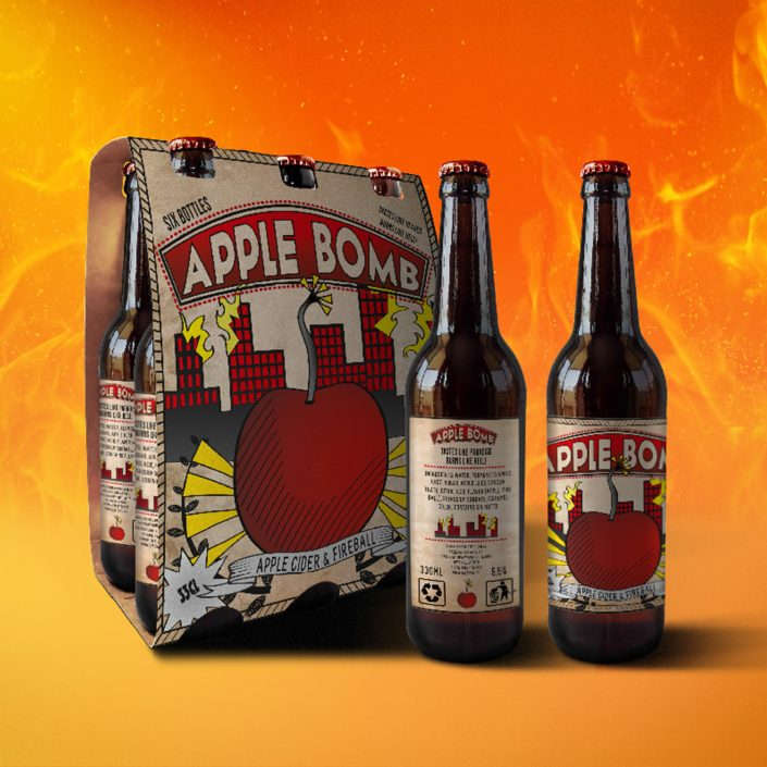 Conceptual graphic identity and label design for Apple Bomb.