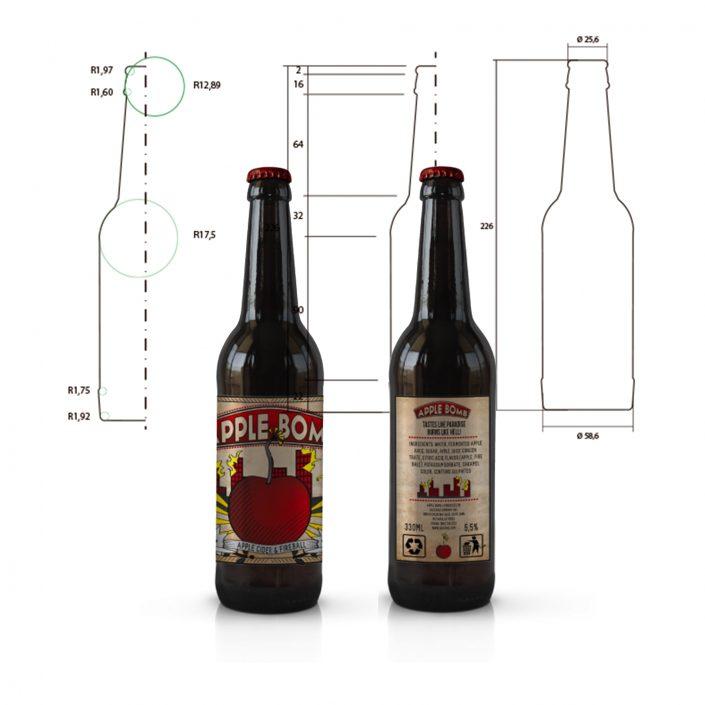 Unique bottle design for Apple Bomb.